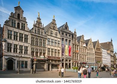 Antwerp, Belgium - June 25, 2018 : Cafe restaurants and old buildings at Antwerp Market Square (Grote Markt). Cityscape of Antwerp.