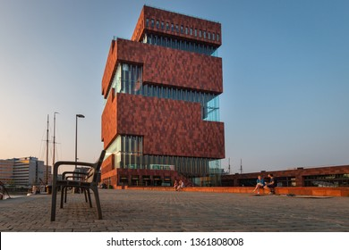 Antwerp, Belgium – June 9, 2018: The MAS museum, Museum aan de Stroom, along the river Scheldt in Antwerp, Belgium on a sunny evening