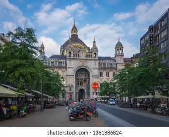 Antwerp, Belgium – June 9, 2018: Beautiful view of the historic monumental landmark Antwerp Central Station (Centraal Station Antwerpen) in Antwerp, Belgium, seen from the Keyserlei street in summer