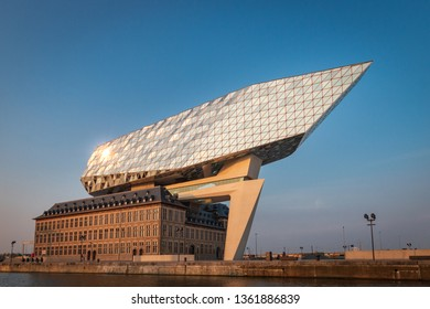 Antwerp, Belgium – June 9, 2018: View on the new Port House (Havenhuis), the head office of the Antwerp Port Authority, designed by architect Zaha Hadid in the Belgium city of Antwerp