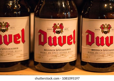 ANTWERP, BELGIUM - MAR 30: Bottles with beer Duvel in local store with products of different popular breweries on March 30, 2018. More than 1,200,000 people lives in Antwerp
