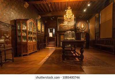 ANTWERP, BELGIUM - MAR 30: Living room with vintage chandelier and antique furniture in printing museum of Plantin-Moretus, UNESCO Heritage Site on March 30, 2018. More 1200000 people lives in Antwerp