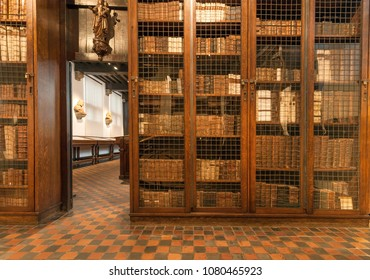 ANTWERP, BELGIUM - MAR 30: Old books inside library of the printing museum of Plantin-Moretus, UNESCO World Heritage Site on March 30, 2018. More than 1,200,000 people lives in Antwerp