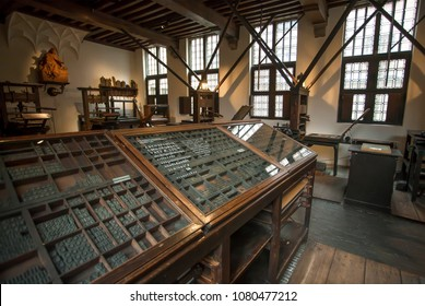 ANTWERP, BELGIUM - MAR 30: Old typographic machines inside the printing museum of Plantin-Moretus, UNESCO World Heritage Site on March 30, 2018. More than 1,200,000 people lives in Antwerp