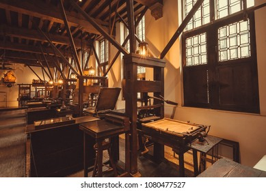 ANTWERP, BELGIUM - MAR 30: Retro typographic machines inside the printing museum of Plantin-Moretus, UNESCO World Heritage Site on March 30, 2018. More than 1,200,000 people lives in Antwerp