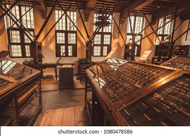ANTWERP, BELGIUM - MAR 30: Working place of historical typographic workers in printing museum of Plantin-Moretus, UNESCO World Heritage Site on March 30, 2018. More 1,200,000 people lives in Antwerp
