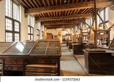 ANTWERP, BELGIUM - MAR 30: Working place with typographic machines in the printing museum of Plantin-Moretus, UNESCO World Heritage Site on March 30, 2018. More than 1,200,000 people lives in Antwerp