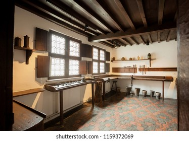 ANTWERP, BELGIUM - MAR 30: Working place inside the historical house of the printing museum of Plantin-Moretus, UNESCO World Heritage Site on March 30, 2018. Near 1,200,000 people lives in Antwerp