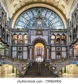 ANTWERP, BELGIUM - March 27, 2017: Hall of the monumental Central Railway Station in Antwerp (Centraal Station Antwerpen), Belgium.