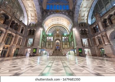 ANTWERP, BELGIUM - MARCH 5, 2020: Antwerpen-Centraal Railway Station main hall dating from 1905.