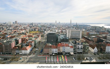 ANTWERP, BELGIUM - MARCH 7, 2015: Panorama on the center of Antwerp, second largest city of Belgium, with the Cathedral of Our Lady and the Church of Saint Paul close to the river Scheldt.
