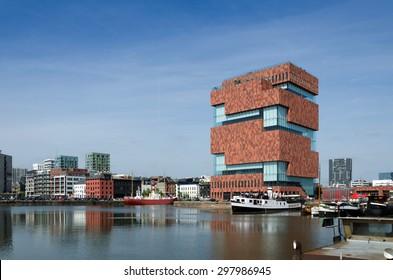 Antwerp, Belgium - May 10, 2015: Museum aan de Stroom (MAS) along the river Scheldt in the Eilandje district of Antwerp, Belgium, on May 10, 2015. Opened in May 2011, is the largest museum in Antwerp.