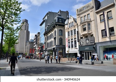 Antwerp, Belgium - May 10, 2015: Tourist on The Meir, the main shopping street of Antwerp, Belgium. on May 10, 2015.