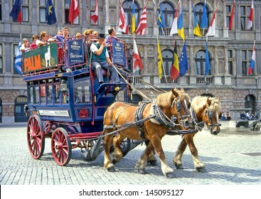 ANTWERP, BELGIUM - MAY 10: The Grote Markt, square with the historic carriage on May 10, 2006. The carriage serves as a tourist attraction