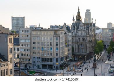 Antwerp, Belgium - May 16, 2019: Aerial view of Antwerp city skyline in Antwerp, Belgium.
