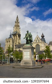 ANTWERP, BELGIUM - May 2, 2019: Monument to Peter Paul Rubens on the Groenplaats in front of the Cathedral of Our Lady in Antwerp