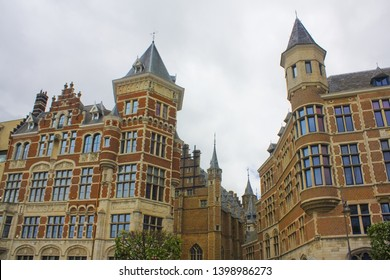 ANTWERP, BELGIUM - May 2, 2019: The historical buildings near Vleeshuis (Butcher's Hall or Meat Hall) - former guildhall in the center of Antwerp