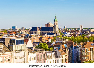 ANTWERP, BELGIUM - May 2019: Aerial view of Antwerp city, roofs of Antwerp, view form the Ferris Wheel, Belgium