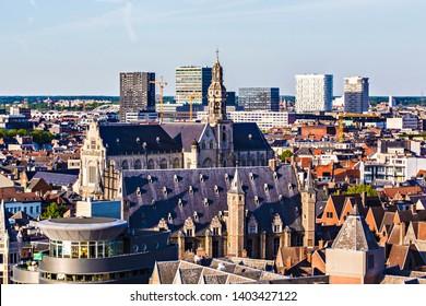 ANTWERP, BELGIUM - May 2019: Aerial view of Antwerp city, roofs of Antwerp, view form the Ferris Wheel, Belgium