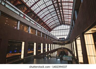 ANTWERP, BELGIUM - May 2019: Antwerp-Central, inside view of the Antwerp railway station, Belgium