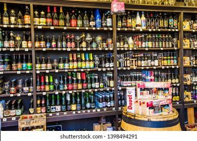 ANTWERP, BELGIUM - May 2019: Belgium beer shop with a great choice of traditional beer in the center of Antwerp, Belgium