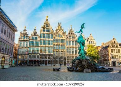 ANTWERP, BELGIUM - May 2019: Brabo Fountain in the center of Grote Markt in Antwerp, Belgium