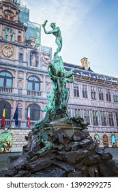 ANTWERP, BELGIUM - May 2019: Brabo Fountain in the center of Grote Markt in Antwerp, Belgium