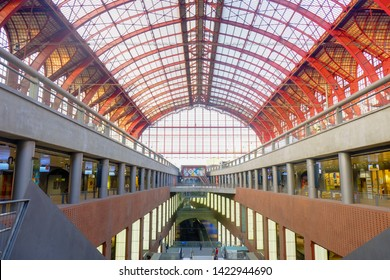 Antwerp, Belgium, May 2019,  Inside the monumental Antwerp Train Station. Antwerp Central is often considered to be one of the most beautiful railway stations in the world.
