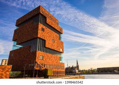 ANTWERP, BELGIUM - May 2019: The Museum aan de Stroom located along the river Scheldt in the Eilandje district of Antwerp, Belgium