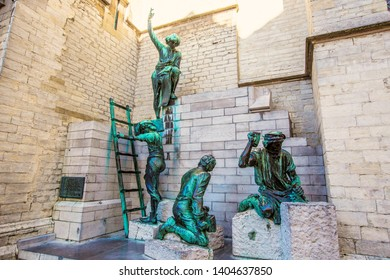 ANTWERP, BELGIUM - May 2019: Pieter Appelmans Monument, located outside the Cathedral of Our Lady in Antwerp, monument to future builders, Antwerp, Belgium
