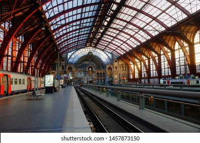 Antwerp, Belgium - May 2019: The train is waiting at the upper deck platform for passengers Inside the beautiful, historic and monumental Antwerp Train Station