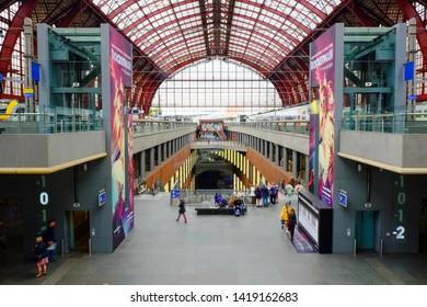 Antwerp, Belgium, May 2019,  Upper Level of the Antwerpen Central railway station in Antwerp Belgian. Antwerp Central is the name of the main train station in the Belgian city of Antwerp.