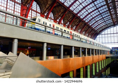 Antwerp, Belgium, May 2019,  View on the majestic arrival hall of the central train station of Antwerp. Antwerp Central is the main station in the Belgian city of Antwerp.