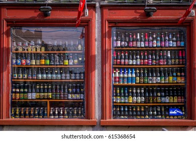 ANTWERP, BELGIUM - MAY 25 2013: A colorful store front with great variety of Belgian beers.