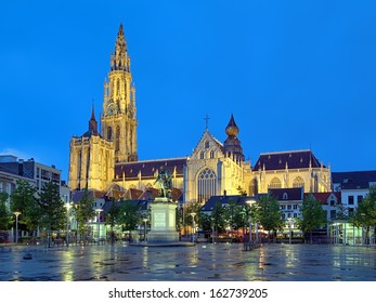 ANTWERP, BELGIUM - MAY 25: Cathedral of Our Lady and statue of Peter Paul Rubens at evening on May 25, 2013 in Antwerp, Belgium. The cathedral is the highest church in the Benelux with 123 m of height