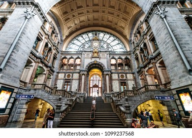 Antwerp, Belgium - May 26, 2018: Inside Antwerp Train Station