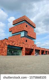 Antwerp, Belgium - May 26, 2019 - The Museum aan de Stroom (MAS) building located along the river Scheldt in the Eilandje district of Antwerp