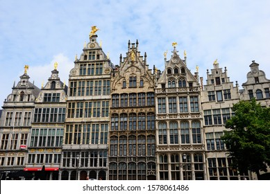 Antwerp, Belgium - May 26, 2019 - Facades of the 16th-century Monumental Guildhouses at the Grote Markt (Great Market Square) in Antwerp