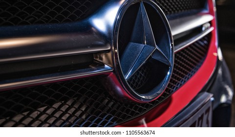 ANTWERP, BELGIUM - MAY 3, 2015: Mercedes Benz Sign Close Up. Founded in 1926 is a German luxury automobile manufacturer, a multinational division of the German manufacturer Daimler AG.