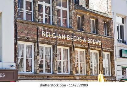 ANTWERP, BELGIUM - MAY 5, 2018: Photo of Belgian Beers and Brews. Area of the Glove Market or just a Glove (Handschoenmarkt).