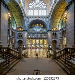 ANTWERP, BELGIUM - NOV 23: Symmetrical composition of the main hall of the famous Antwerp Railway train station, also known as the cathedral amongst stations on November 23, 2012 in Antwerp, Belgium