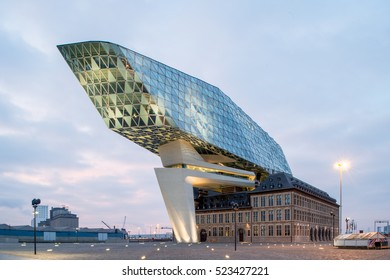 ANTWERP, BELGIUM - November 26, 2016: New office port in the harbour of Antwerp, Belgium