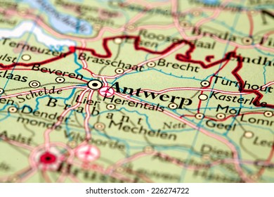 Antwerp Belgium, on atlas world map
