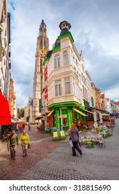 ANTWERP, BELGIUM - SEPTEMBER 03, 2015: unidentified people in the old town of Antwerp. Antwerp is the capital of Antwerp province and with population of 510,610 the most populous city in Belgium