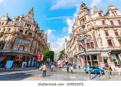 ANTWERP, BELGIUM - SEPTEMBER 03, 2015: city of Antwerp with unidentified people. Antwerp is the capital of Antwerp province and with a population of 510,610 the most populous city in Belgium