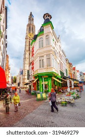 ANTWERP, BELGIUM - SEPTEMBER 03, 2015: old town of Antwerp with unidentified. Antwerp is the capital of Antwerp province and with a population of 510,610 most populous city in Belgium