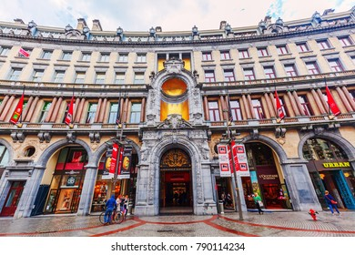 Antwerp, Belgium - September 03, 2015: Stadsfeestzaal in the city of Antwerp, Belgium, with unidentified people. It is a luxury shopping mall, opened October 2007
