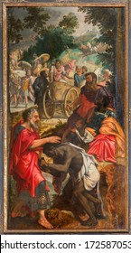ANTWERP, BELGIUM - SEPTEMBER 5, 2013: Paint of scene - Baptism of the Ethiopian Eunuch by Philip by unknown painter in the cathedral of Our Lady.