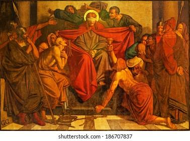 ANTWERP, BELGIUM - SEPTEMBER 5, 2013: Fresco of torture of Jesus scene in Joriskerk or st. George church from 19. cent.