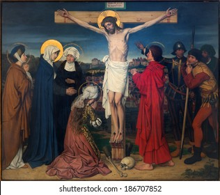 ANTWERP, BELGIUM - SEPTEMBER 5, 2013: Crucifixion as part of Seven Sorrows of Virgin cycle by Josef Janssens from years 1903 - 1910 in the cathedral of Our Lady.